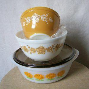 VTG Glasbake 2 Qt. Casserole Dish & 2 Pyrex Bowls